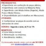 COSTUREIRA (ATE 16/11/2019) – FORTALEZA/CE