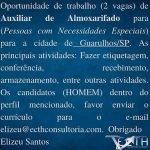 AUXILIAR DE ALMOXARIFADO (PCD) – GUARULHOS/SP